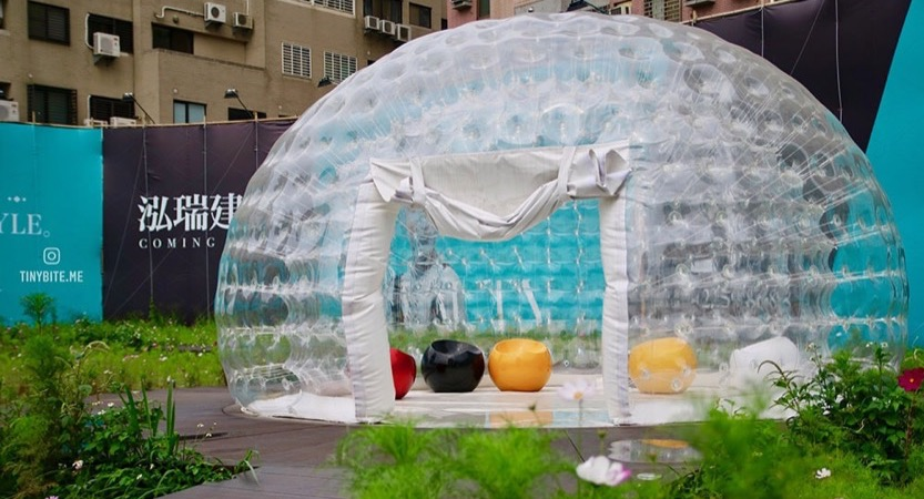 [台中景點] 南屯泡泡屋 | 3個可愛又夢幻的透明大泡泡 城市中小綠洲般的存在 近不二製餅蛋黃酥、金之園草袋飯